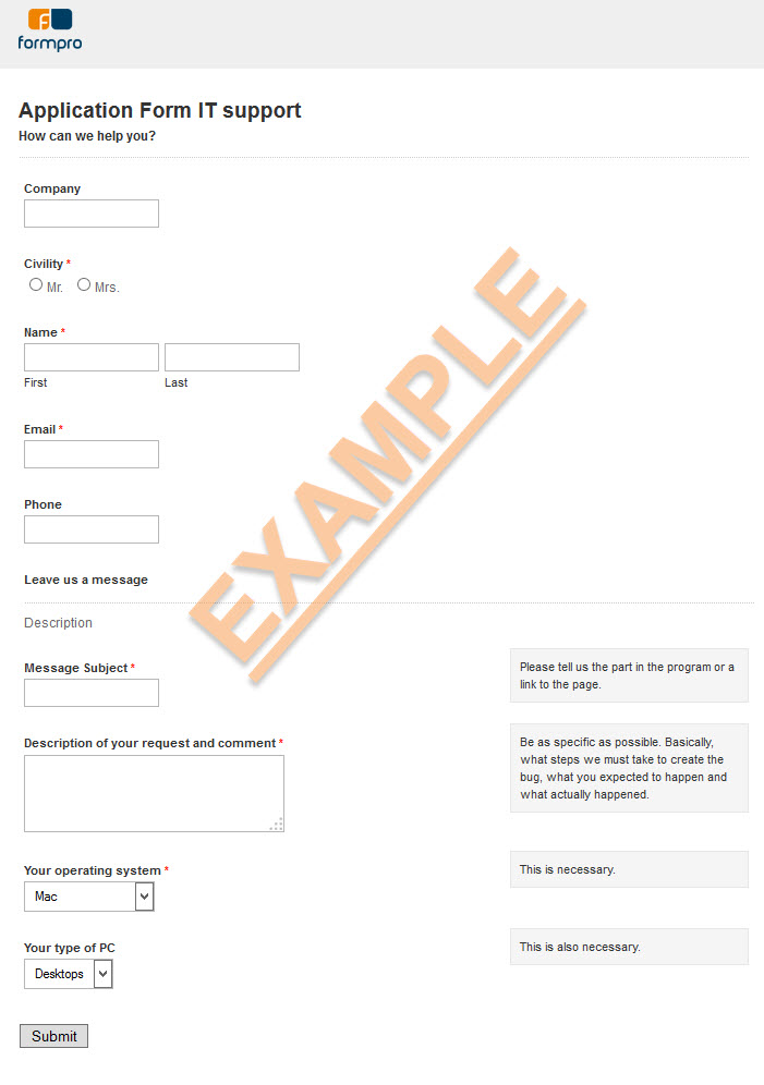 IT support service form sample by Formpro