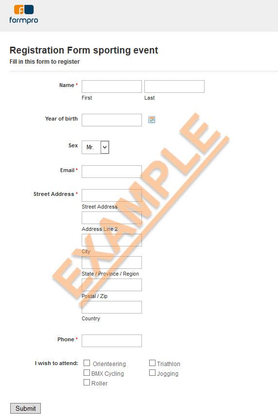 Event Registration Form Sample By Formpro