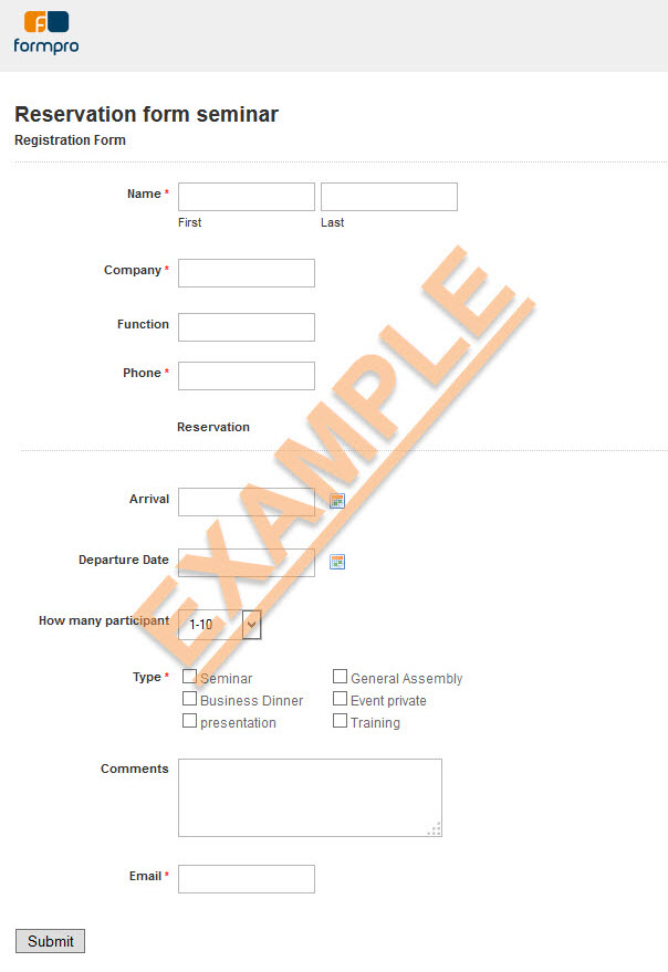 Seminar Reservation form with Formpro™   Sample Forms
